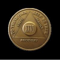 Юбилейный подарочный жетон 26 лет трезвости бронза