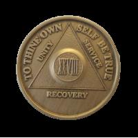 Юбилейный подарочный жетон 28 лет трезвости бронза