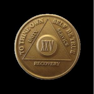 Юбилейный подарочный жетон 25 лет трезвости бронза