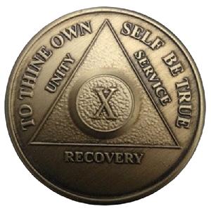 Юбилейный подарочный жетон 10 лет трезвости бронза