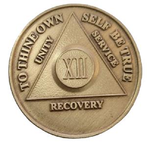 Юбилейный подарочный жетон 12 лет трезвости бронза