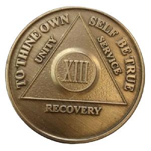 Юбилейный подарочный жетон 13 лет трезвости бронза