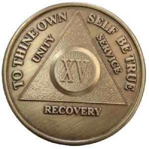 Юбилейный подарочный жетон 15 лет трезвости бронза