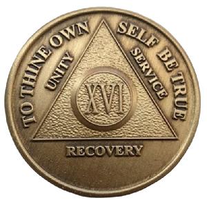 Юбилейный подарочный жетон 16 лет трезвости бронза