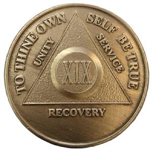 Юбилейный подарочный жетон 19 лет трезвости бронза