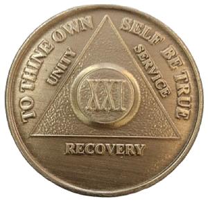 Юбилейный подарочный жетон 21 год трезвости бронза