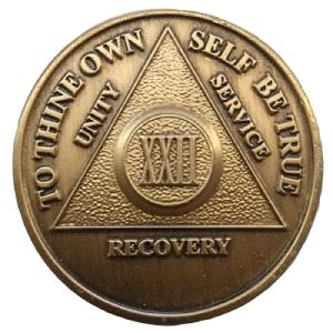 Юбилейный подарочный жетон 22 года трезвости бронза