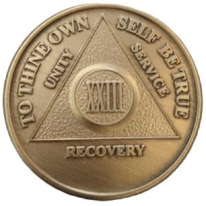 Юбилейный подарочный жетон 23 года трезвости бронза
