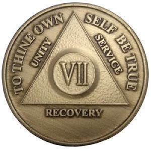 Юбилейный подарочный жетон 7 лет трезвости бронза