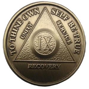 Юбилейный подарочный жетон 9 лет трезвости бронза